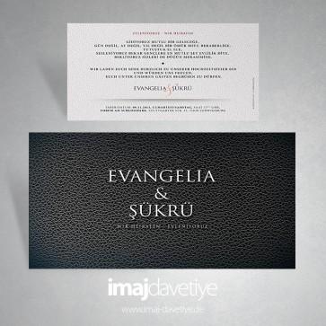 Einladungskarte mit Lederimitat in schwarz für Hochzeit oder Verlobung 150