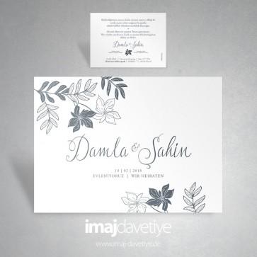 Einladungskarte in weiß mit Blumendruck in grau für Hochzeit 042