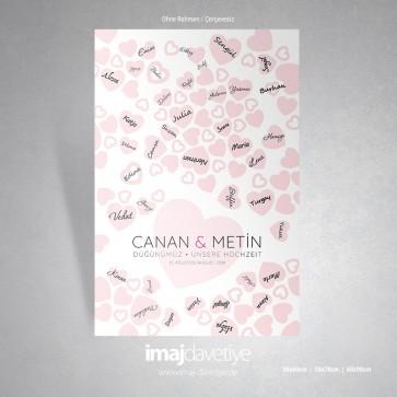 Gästeposter für Hochzeit oder Hennaabend mit rosanen Herzmotifen - 05