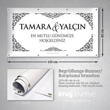 PVC Empfangs-Banner in schwarz-weiss mit Ornamenten für Hochzeit 09