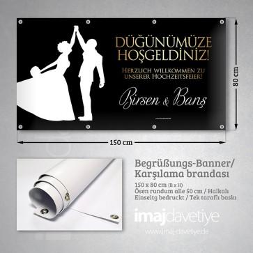 PVC Empfangs- & Willkommensbanner in schwarz mit Brautpaar-Silhouette 05