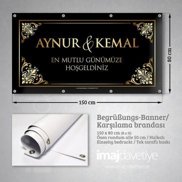 PVC Empfangs-Banner in schwarz mit goldenen Ornamenten für Hochzeit 07