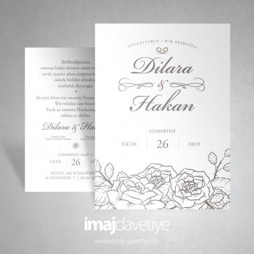 Hochzeitskarte Vintage Floraldesign in weiß 045