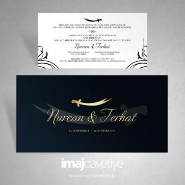 Einladungskarte in schwarz mit Schwert von Hz. Ali - 10