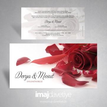 Einladungskarte mit roter Rose und Schleife für Hochzeit oder Verlobung 164