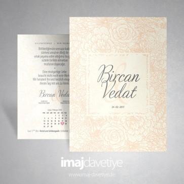 Einladung für Hochzeit oder Verlobung skizziert mit Rosen und Blüten in Aprikot-beige 039