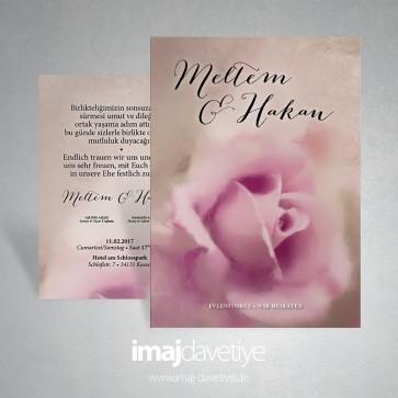 Einladung zur Hochzeit oder Verlobung mit rosa Rose - Aquarelleffekt 027