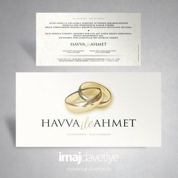 Einladung in weiß mit Goldringen zur Hochzeit oder Verlobung 007