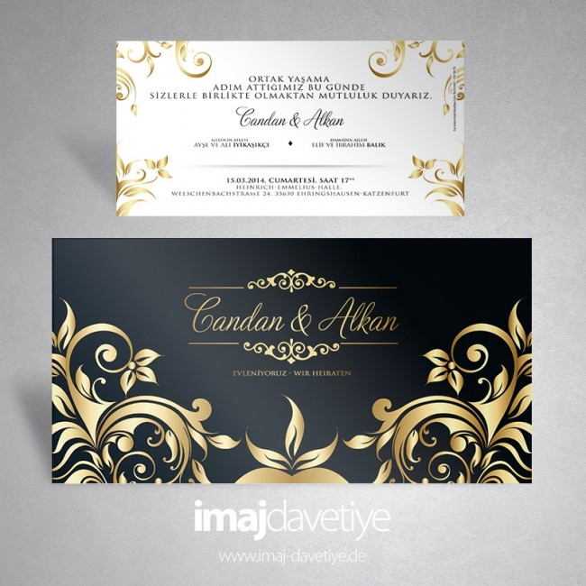 Schwarze Einladungskarte Mit Goldenen Ornamenten Für Hochzeit/Verlobung 122
