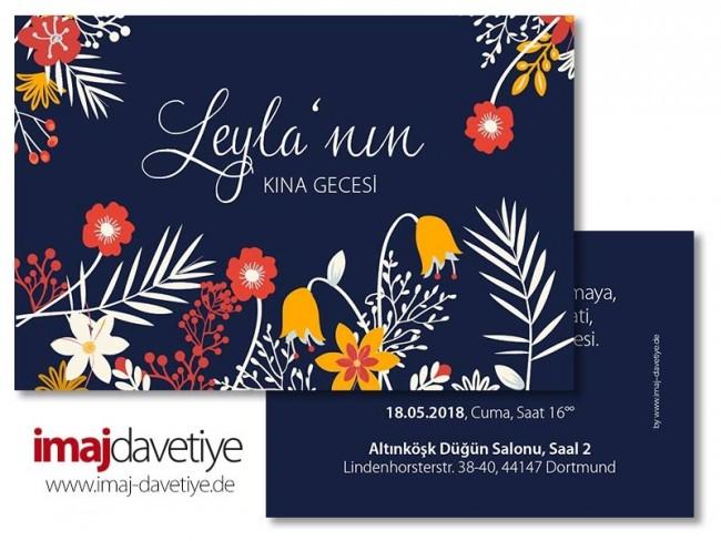 Hennaabend Einladungskarte Mit Peppigen Bunten Pflanzen In Blau