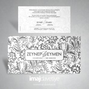 Einladungskarte in weiß mit Blütenzeichnung in schwarz für Hochzeit oder Verlobung 025a