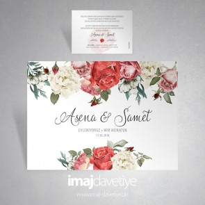 Einladungskarte mit bunten Rosen und Blüten für Hochzeit oder Verlobung 035