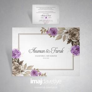 Einladungskarte für Hochzeit oder Verlobung mit Wasserfarben Rose in lila und braun 034