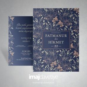 Einladungskarte dunkelblau mit Floraldesign 062-1