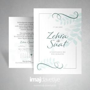 Einladung zur Hochzeit mit pastelgrünen Blättern in weiß 053