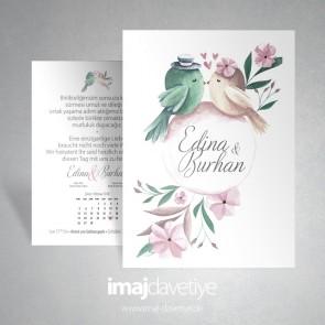 Einladung mit 2 Liebesvögel in pastelfarben für Hochzeit oder Verlobung 040