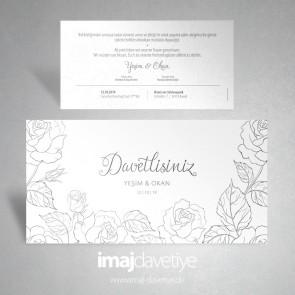 Hochzeitseinladung mit Rosen im Floraldesign in weiß 070