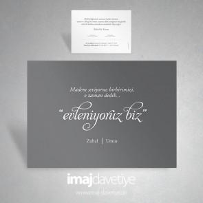 """Einladungskarte """"evleniyoruz biz"""" in grau 052"""