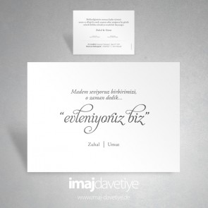 """Einladungskarte """"evleniyoruz biz"""" in weiß 051"""