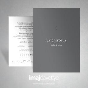 """Graue Einladung zur Hochzeit mit """"wir heiraten"""" Schrift türkisch  049"""
