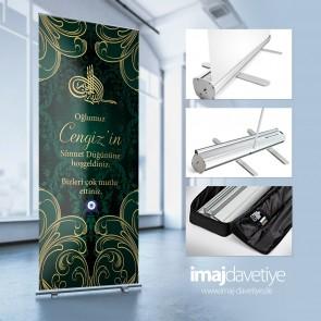 Empfangs- & Willkommens Roll-up-System für Beschneidung in grün mit Tugra und Ornamenten 15