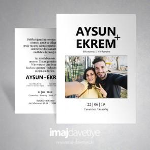 Einladungskarte in weiß mit Paarfoto zur Hochzeit 063