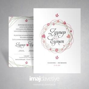 Einladungskarte in weiß mit Konfetti und Herzen für Hochzeit oder Verlobung 016a