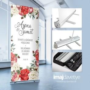 Empfangs- & Willkommens-Display im Roll-up Stystem mit Tasche • mit roter Rose und Blüten Wasserfarben-Stil 24