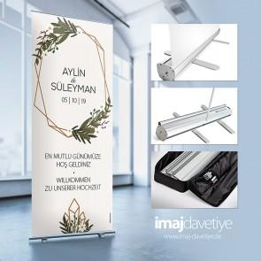 Empfangs- & Willkommens-Display im Roll-up Stystem mit Tasche • mit Blumenkranz 065