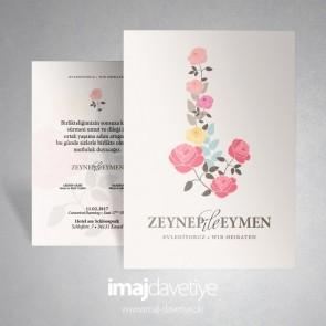 Gül / Rosen motifli düğün davetiye 001