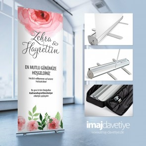 Empfangs-Rollup-Display mit rosa Rosen 05