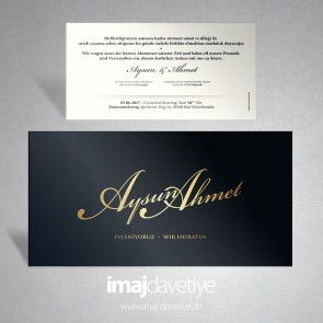 Schwarze Einladung mit goldfarbenen Namen 046