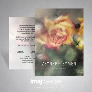 Einladungskarte mit gelber-roter Rose in Wasserfarben-Stil für Hochzeit oder Verlobung 019