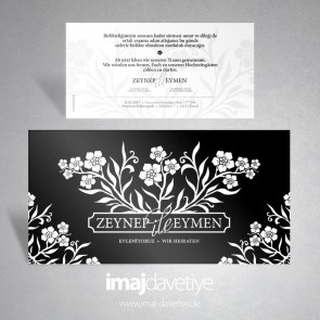 Siyah-Beyaz çiçekli Davetiye 024 B