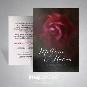 Schwarze Einladungskarte mit dunkelroter Rose in Wasserfarbe für Hochzeit oder Verlobung 020