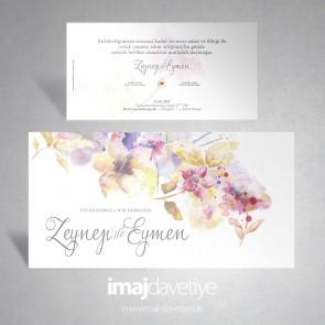 Einladungskarte mit Blumen im Aquarell-Stil 005