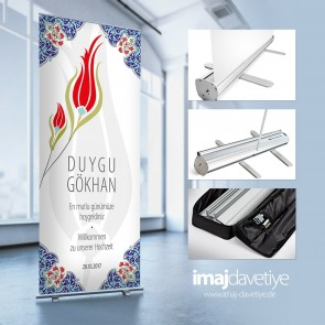 Empfangs- & Willkommens-Display im Roll-up-System mit Tasche • Osmanisches Tulpen-Design-20
