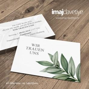 Einladung zur Trauung mit grünen Blättern 058