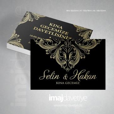 Altın dantel süslemeli siyah kına davetiye kartı 17