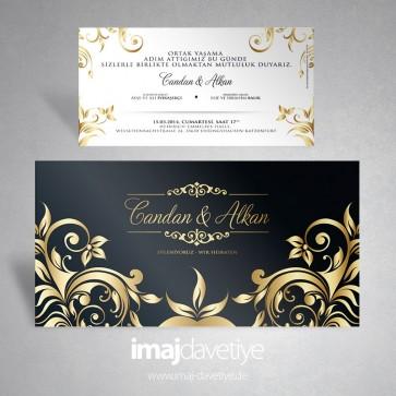 Siyah renkte etrafı altın süslemeli düğün/nişan veya kına davetiyesi 122