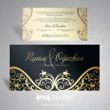 Altın süslemeli siyah klasik düğün davetiyesi 158