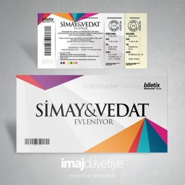 Eintrittskarte als Einladung für Hochzeit - Biletix 167