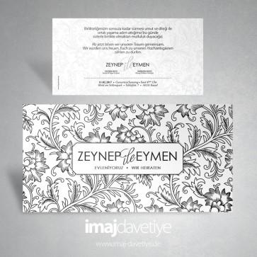 Beyaz renkte üzeri siyah çiçek motifli düğün veya nişan davetiye kartı  025W