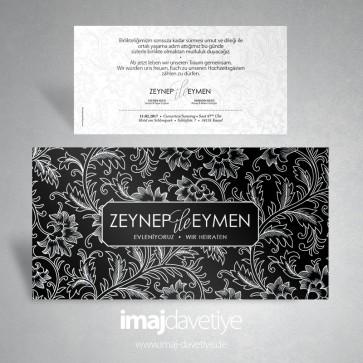 Siyah zemin üzeri beyaz çiçek motifli düğün veya nişan davetiyesi 025S