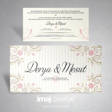 Krem rengi çiçekli çizgili düğün davetiyesi 165