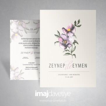 Suluboya tarzı menekşe çiçekli açık renkte düğün/nişan davetiyesi 009