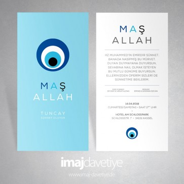 Modern nazar boncuklu  ve Maşallah yazılı sünnet düğünü davetiyesi 10