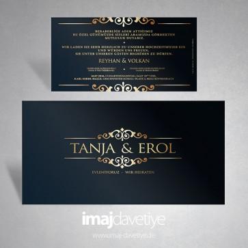 Altın süslemeli ve yazılı siyah düğün veya nişan davetiyesi068
