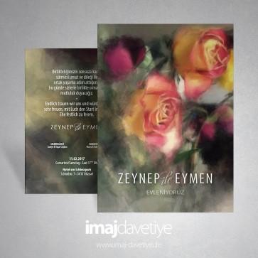 Einladungskarte mit wilden bunten Rosen in Wasserfarben 015