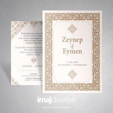 Çerçeve desenli süslemeli kahvrengi ve krem renginde düğün/nişan davetiyesi 022